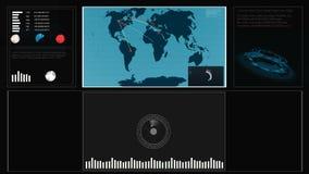 Przyszłościowego pojęcia dotyka wirtualny interfejs użytkownika HUD z światową mapą, wykresy, hologram Interaktywny ekran z zdjęcie wideo