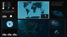 Przyszłościowego pojęcia dotyka wirtualny interfejs użytkownika HUD z światową mapą, wykresy, hologram Interaktywny ekran z zbiory wideo