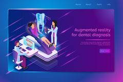 Przyszłościowej dentysta praktyki strony internetowej Wektorowy szablon ilustracja wektor