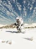 Przyszłościowy żołnierz, śniegu patrol Zdjęcia Royalty Free