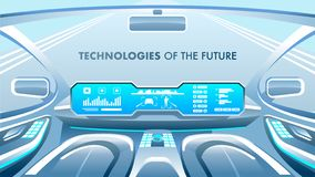 Przyszłościowy technologia sztandar również zwrócić corel ilustracji wektora ilustracji