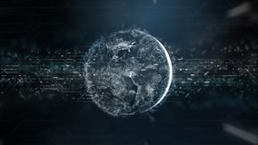 Przyszłościowy technologii tło z światowymi i cyfrowymi dużymi dane informaci spływania pola związkami Animacja dla vr, ai royalty ilustracja