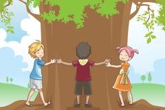 przytulenie żartuje drzewa royalty ilustracja