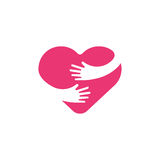 Przytulenie kierowy symbol, uściśnięcie yourself, miłość yourself Serce i ręki ilustracyjni Zdjęcia Royalty Free