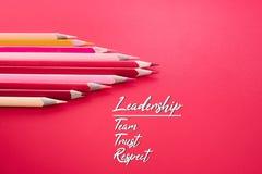 Przywódctwo biznesu pojęcie czerwonego koloru ołówkowy prowadzenie inny kolor z przywódctwo, drużyną, zaufaniem i szacunekiem na  zdjęcie royalty free