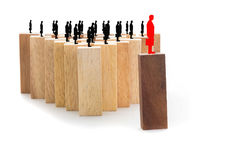 Przywódctwo i drużynowy abstrakcjonistyczny biznesowy pojęcie, drewniany blok na w Zdjęcie Stock