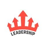 Przywódctwo ikona z czerwoną koroną royalty ilustracja