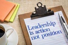 Przywódctwo jest akcją, nie pozycja Obrazy Stock