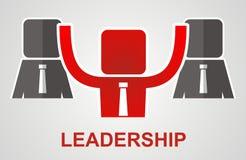 Przywódctwo pojęcie - lider podnosi jego ręki up ilustracja wektor