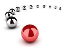 Przywódctwo pojęcie z sferami na biel Zdjęcie Stock