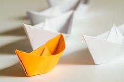 Przywódctwo pojęcia papieru statki Obrazy Stock