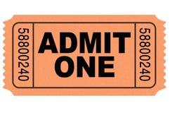 przyznaje filmu bilet jeden Zdjęcia Royalty Free