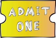 przyznaje, jeden bilet do próby ślepej Obrazy Royalty Free