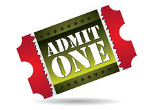 przyznaje kino bilet jeden Obraz Stock