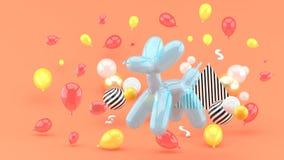 Psów balony są wśród kolorowych balonów na różowym backgroun ilustracji