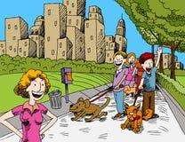 psów parka ludzie target1155_1_ ilustracji