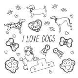 Psów trakeny Set z inskrypcją kocham psy ilustracji