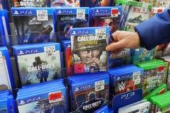 PS4比赛在商店 免版税库存照片
