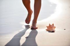 Pés da mulher que andam na areia molhada Imagem de Stock