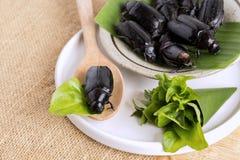 PS di Holotrichia del rizotrogo o dello scarabeo Alimento degli insetti per il cibo e cucinato fritto o cotto sul piatto e sul cu fotografia stock libera da diritti