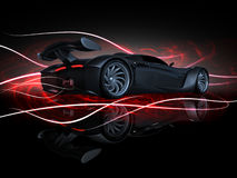 PS-final render fire. Studio render sport concept car side view fire Stock Image