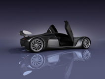 PS-final render side view. Studio render sport concept car side view vector illustration