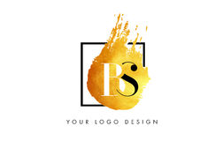 PS Gouden Brief Logo Painted Brush Texture Strokes Stock Fotografie