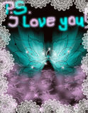 PS I love you. Abstract message turquise wings lace Stock Photos