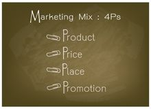 4Ps Marketing Mix Model with Price, Product, Promotion and Place. Business Concepts, Illustration of 4Ps Model or Marketing Mix Diagram for Management Strategy Royalty Free Stock Images