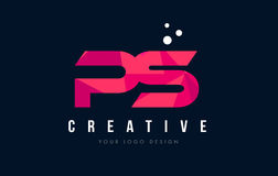 PS P S Letter Logo with Purple Low Poly Pink Triangles Concept Stock Image