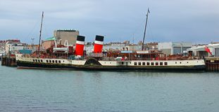 PS waverly. The last passenger paddle steamer. The PS Waverley docked in Weymouth harbour, United Kingdom. PS Waverley is the last seagoing passenger-carrying Royalty Free Stock Photos