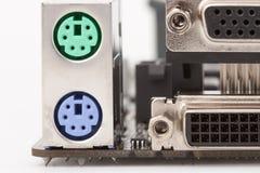 PS/2 zielenieją mysz port i PS/2 purpurowego klawiaturowego port na motherbo, zdjęcia royalty free