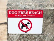 Psa bielu i czerwieni bezpłatny plażowy znak na ścianie wyrzucać na brzeg dovercourt harwi Obrazy Stock