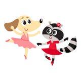 Psa, szop pracz, szczeniaka i figlarki charaktery tanczy balet wpólnie, ilustracji