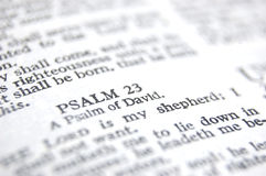 Psalm 23. Bible passage psalm 23. Macro with differential focus Royalty Free Stock Image