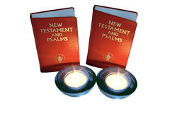 Psalm books and candles Royalty Free Stock Photo