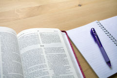 Psalms bible study with pen view from the top. Job Bible study with pen and pencil for bible study on desk Stock Photography
