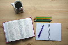 Psalms bible study with pen view from the top. Bible study with pen and pencil for bible study on desk with phone Stock Photo