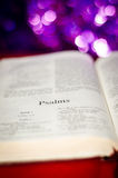 Psalms page. Bible Psalms page on boke background Royalty Free Stock Photos
