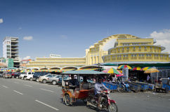 Psar thmei central market and street in phnom penh cambodia Royalty Free Stock Images
