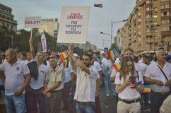 PSD στο Βουκουρέστι, εκατοντάδες χιλιάδες των ανθρώπων στην οδό Στοκ Εικόνες