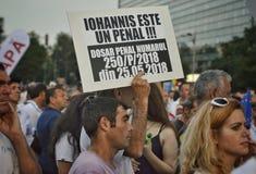 PSD στο Βουκουρέστι, εκατοντάδες χιλιάδες των ανθρώπων στην οδό Στοκ Φωτογραφία