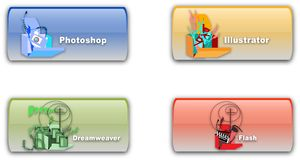 PSD, AI, FLA, DW Icons Stock Photography