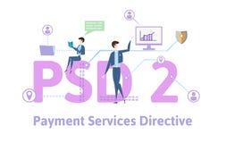 PSD2, directorio 2 de los servicios del pago Concepto con la gente, las letras y los iconos Ejemplo plano coloreado del vector en stock de ilustración