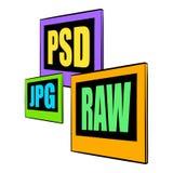 PSD, JPG, bande dessinée d'icône de fichier HISTORIQUE Photos stock