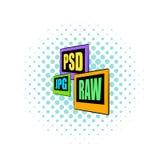PSD, JPG, icône de fichier HISTORIQUE, style de bandes dessinées Photographie stock