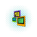 PSD, JPG, RAW file icon, comics style Stock Photography