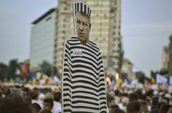 PSD miting在布加勒斯特的,街道的数十万人民 免版税库存图片