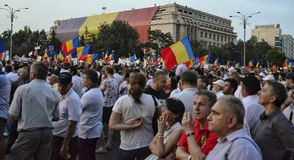 The PSD miting in Bucharest, hundreds of thousands of people in the street Stock Photography