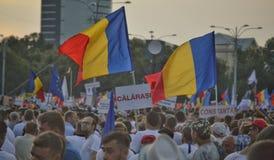 PSD miting w Bucharest, setki tysięcy ludzi w ulicie Obrazy Royalty Free